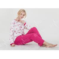 Large Floral Printed Womens Pyjama Sets 100% Combed Cotton Interlock Material Manufactures