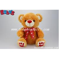 China 100%Polyester Plush Toy Bear In Brown Color With Red Nose Paw and Ribbon on sale
