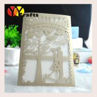 Buy cheap Fancy champine gold bride and groom shape lace handmade invitation cards from wholesalers