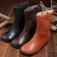 Quality S027 Handmade original middle tube retro warm women's boots leather women's boots brand foreign trade original single for sale