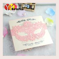 Buy cheap Unique design pink color mask shape vintage lace wedding cards with printing from wholesalers