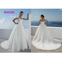 New Style Sweep Brush Train White Cap Sleeve Bride Frocks Custom Bridal Ball Gown Manufactures