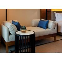 Ivory Color Relax Fabric Upholstered Wooden Bench Seat With Hardwood Frame Manufactures