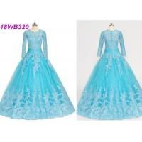 Muslim Style Blue Multi Colored Wedding Gowns With Lace Long Sleeves Zipper Back Manufactures