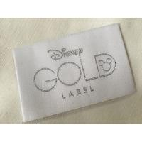Disney Gold Bage End Fold Woven Clothing Labels Cold Cut / Heat Cut Manufactures