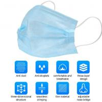 Protective Earloop 3 Ply Face Mask Skin Friendly Independent Packing Manufactures
