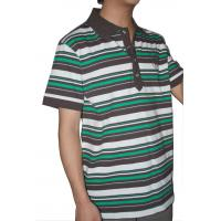 Quality Tranfering Strip Pattern Striped T Shirt Mens , White Green Mens T Shirt With Collar for sale