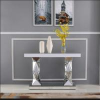 China Sparkly silver mirrored console table diamond decorative hallway table for living room on sale