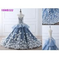 3D Flowers Crystal Grey Wedding Gown / Luxury See Through Lace Bridal Gowns Manufactures