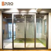 Slim Frame Aluminium Sliding Doors , Soundproof Interior Sliding Glass Doors Manufactures