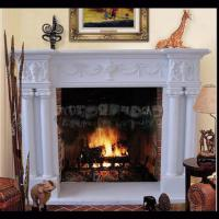 Electric marble fireplace mantel surrounds with stone figure carvings,China marble fireplace supplier Manufactures