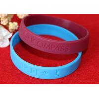 Buy cheap Lettering Debossed Silicone Wristbands , Rubber Promotional Bracelets Smooth Edge from wholesalers