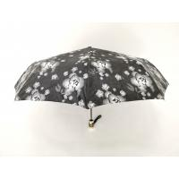 Waterproof Fabric 9 Panels Auto Open Close Umbrella In Black Color With Printed Handle Manufactures