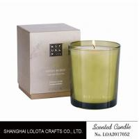 China Handmade Scented Soy Candles , Long Lasting Scented Candles In Green Clear Bottle on sale
