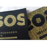 Metal Yarn Gold / Silver Woven Damask Labels , Charm Woven Name Labels For Clothing Manufactures