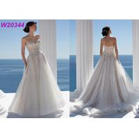 Beaded Lace and Tulle Strapless Sweetheart Chapel Length Bridal Ball Gowns Manufactures