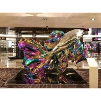 Colorful painted stainless steel statue sculptures ,customized art statue,Stainless steel sculpture supplier Manufactures