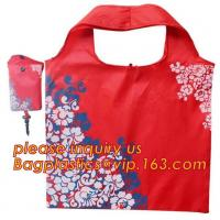 China Factory Custom Grocery Use Polyester T-Shirt Reusable Folding Shopping Bag With Pocket,recyclable PP non woven fol Manufactures