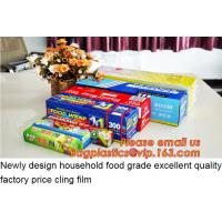 food plastic wrap, High quality and safety transparent best fresh hot blue Jumbo roll cling film 1500m Manufactures