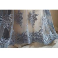 Pale Blue Beaded 3D Flower Lace Fabric By The Yard For Wedding Dress Manufactures