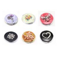 Quality Beautiful Women's Metal Anniversary Gifts Travel Cosmetic Mirror With Enamel Filling for sale