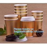 Gold Party Cups, Disposable Coffee Cups With Lids - Insulated Hot Cups To Go - Luxury Glitter Paper Cups Manufactures