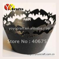 Buy cheap Holloween party Laser Cut Cupcake Holder black color Non stick Eco - friendly from wholesalers