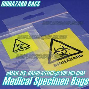 Biodegradable Material LDPE Biohazard Specimen Bag with Zipper, opaque Specimen biohazard zipper bags, lab specimen zipp Manufactures