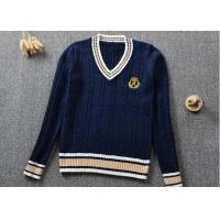 Buy cheap Knitted V Neck Style Navy Blue Uniform Sweaters Customized Logo And Color from wholesalers