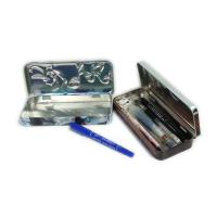 rectangular 3D embossed pen tin box with hinged lid Manufactures