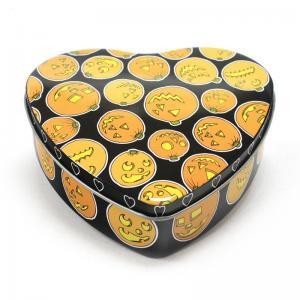 Set Of 5 Halloween Pumpkin Heart Tins Manufactures