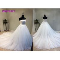 Stunning Organza Strapless Ball Gown Wedding Dresses , Long Train White Lace Ball Gown Manufactures