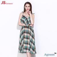 89D17256 2018 New Printed Cotton Sleeveless High Waist Women Midi Dress Manufactures