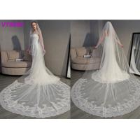 Long Soft Lace Ivory Wedding Veils / 3D Flowers Edging Muslim Bridal Veil 5 Meters Manufactures