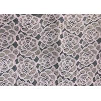 Water soluable golden Embroidered Rose guipure Lace Fabric Textile Design 90% Nylon 10% Lycra Spandex Knitting Manufactures