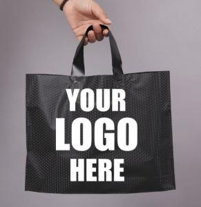 Compostable bio eco Merchandise Bag With Die Cut Handles Tear Resistant Strength | Perfect For Trade Shows, Retail Manufactures