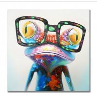 China Hand Painted Oil Painting Pop Frog with Glasses on Canvas Wall Art 3D Abstract Canvas on sale