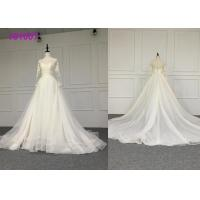 Crystal A Line Ball Gown Wedding Dress / Tulle Long Sleeve Ball Gown Wedding Dress Manufactures