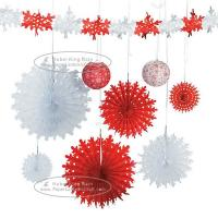 Buy cheap Christmas Snowflake Paper Fan Round Folding Fans Hanging Party Home Decorations from wholesalers