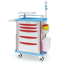 Easy Clean Emergency Crash Trolley / Medical Carts On Wheels With Drawer Manufactures