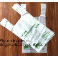 OK Compost 100% Corn Starch Biodegradable Plastic T Shirt Bag Vest Bag Bioplastic Shopping Bag For Grocery Manufactures