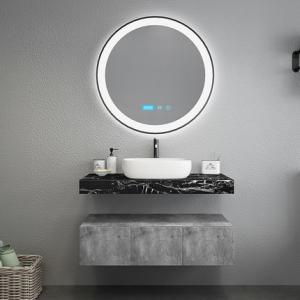 Black Marble Countertops Unique Bathroom Vanities , Touch Mirror Bathroom Sink Vanity Unit Manufactures