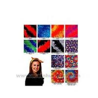 Tie dye bandanna with wax printing multi color design. Manufactures