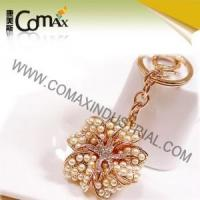 Fancy keychains FK-0153 Pearl Rose Gold Flower New Design Keychains Manufactures
