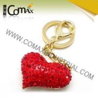 Fancy keychains FK-0149 Red Heart Shape Gold Plated Crystal Bag Accessories, keyrings Manufactures