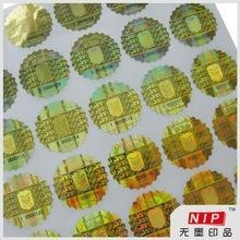 Quality Destructive anti forgery round anti tamper sticker with stamped hologram for sale
