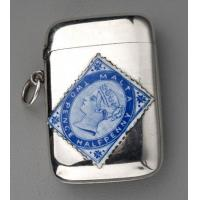 Victorian Silver and Enamel Malta Blue Stamp Vesta Case - Twopence Halfpenny Manufactures