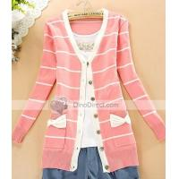 Clothing, Shoes & Accessories Qooeen Cotton Slim Stripe Bowknot Long Sleeve Women Cardigan Manufactures