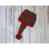 Christmas stocking hat for baby, cotton hat in red and green, crochet hat Manufactures