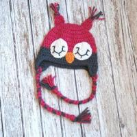 Sleepy owl crochet hat for girls in pink and gray Manufactures